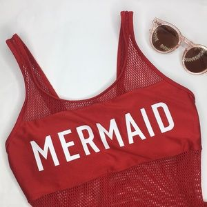 Forever 21 MERMAID High Cut One Piece Swimsuit